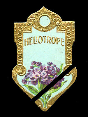 Antique Perfume Soap Label: Vintage French HELIOTROPE Embossed France est. 1900