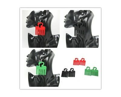 Afrocentric Afro Comb Africa Map Wooden Ethnic Earrings Red, Black or Green