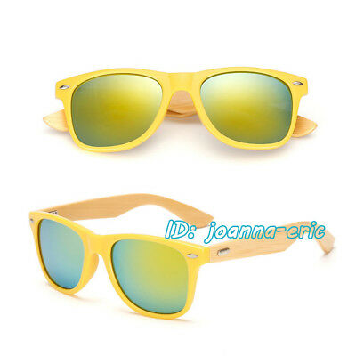 Womens Retro Bamboo Sunglasses Mens 80s Glasses Vintage Shades UV400 Eyeglasses