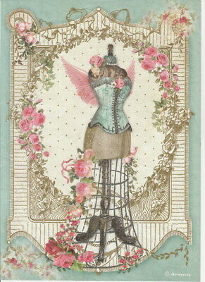 Rice Paper -Mannequin with flowers - for Decoupage Scrapbook Craft