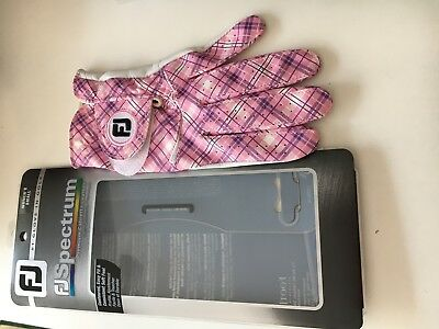 Neu! Footjoy Spectrum Pink Plaid Damen LH Golf Handschuhe Leder UVP 26,90