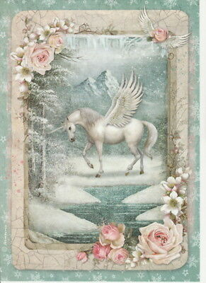 Rice Paper - Winter unicorn - for Decoupage Scrapbook Craft