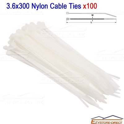 100PCS White Electrical Nylon Cable Ties 3.6 x 300 mm UV Stabilised
