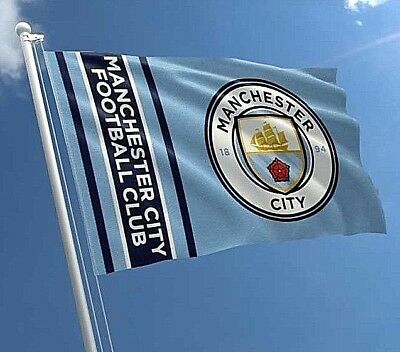 MANCHESTER CITY FC LARGE FOOTBALL CLUB CREST MAST FLAG 5ft X 3ft OFFICIAL MCFC