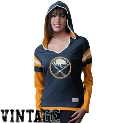 Old Time Hockey Buffalo Sabres Women's Marte Long Sleeve Hooded T-Shirt - Navy