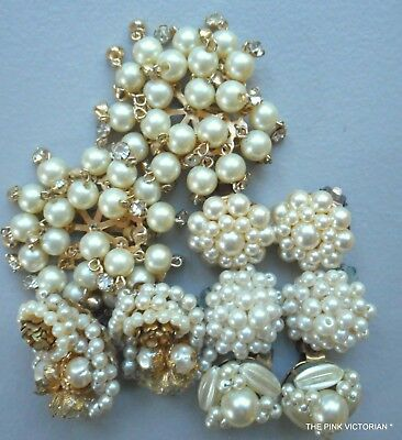 Lovely Lot Of Vintage Clip On Earrings, Signed Pat.pend & Hong Kong