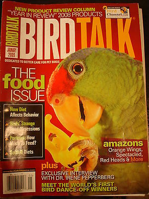 BirdTalk Mag Jan 2009 Amazons, orange wings, red heads, The food issue