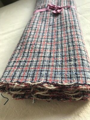 Vintage Cotton Fabric Table Runner Blue White Decorative Textile Furnishing 1m