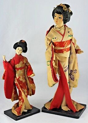 Antique Vintage Pair of Japanese Geisha Doll in Kimono Figures, Clay & Fabric
