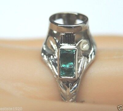 Antique Art Deco Belais Setting Mounting Mount Hold 6MM 18K Ring Size 5.75 UK-L
