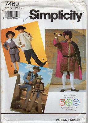 "©1991 UNCUT Simplicity Pattern # 7469 ""Men's or Teen Boys' Historical Costumes"""