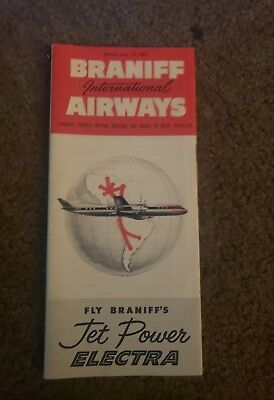 Braniff International Airlines Time Schedule...1959