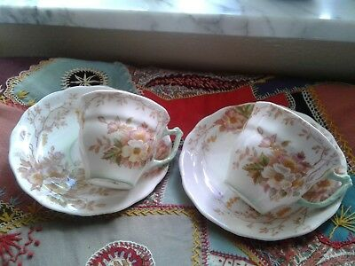 Sampson Smith Old Royal Bone China Floral Demitasse Cup & Saucer ~ EUC ~ 2 sets