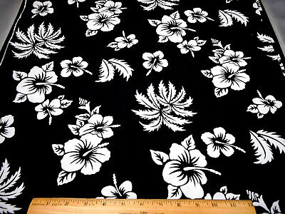Tropical Fabric By The Yard White Hybiscus Fl On Black Cotton Hawaiian Oop
