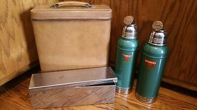 Stanley Super Vac Picnic Set Stainless lined w/corks leather case
