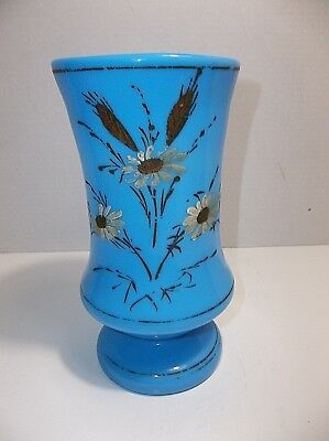 """Antique French Blue Opaline Glass Enamel Painted VASE Flowers Daisies 8.75"""""""