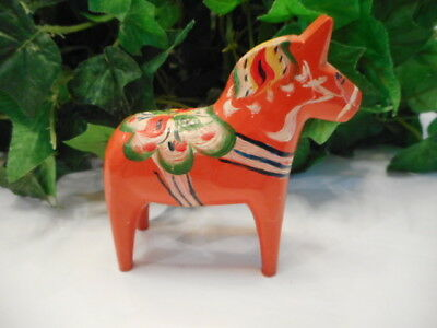 Small Nils Olsson Hand Carved Swedish Dala Horse Folk Art Figurine W/Tag