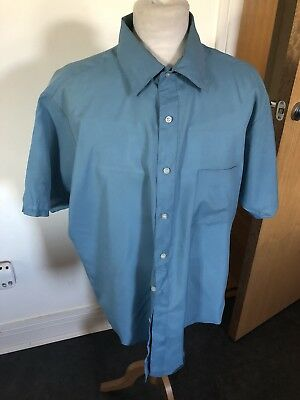 VINTAGE 80's BLUE SILKY BAGGY  RETRO SHIRT XL