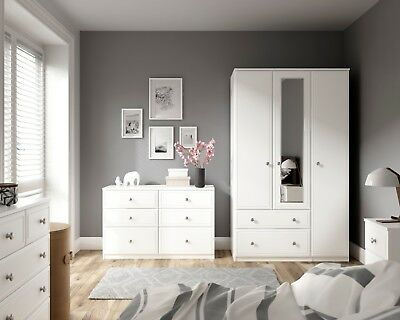 Somerset White Wardrobe Drawer Chest Set Fully Ready Assembled Bedroom Furniture
