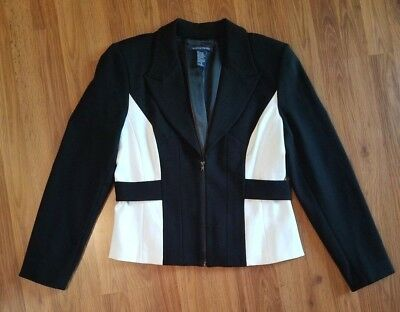 Women's Boston Proper Black/White Fitted Blazer Jacket with Padded Shoulders 12