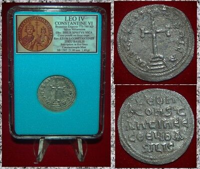 Ancient Byzantine Empire LEO IV Cross Jesus Christ Silver Miliaresion RARE coin!