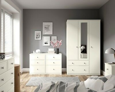 Somerset Ivory Wardrobe Drawer Chest Set Fully Ready Assembled Bedroom Furniture
