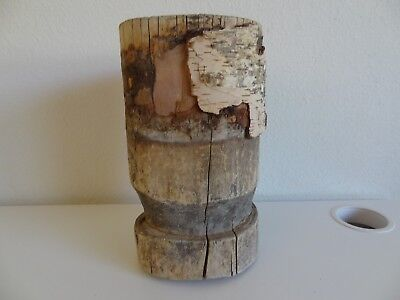 Vintage Mongolian Hand Made Birch  Pounder Crusher For Lama's Medicine