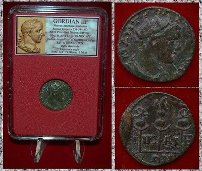 Roman Empire Coin GORDIAN III Three Standards Legionary Eagle On Reverse