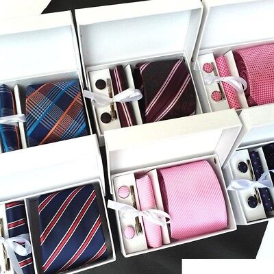 Mens High Quality Tie, Cufflinks, Tie Clip, Pocket Square + Gift Box 5PCS