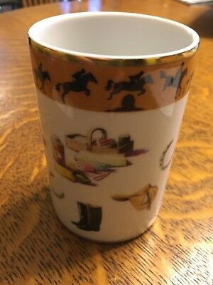 VISTA ALEGRE Equestrian Porcelain Cup Trinket Pencil Holder Horse Portugal