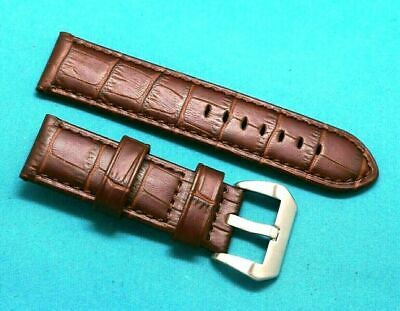 24mm Brown Croco Embossed Leather Replacement Watch Band - Panerai 24 Watches