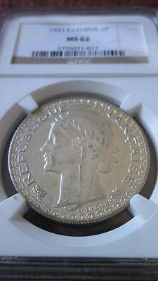 French Indochina 1 Piastre 1931 NGC MS 62