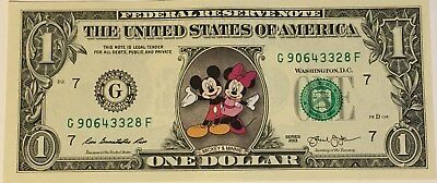 $1 Bill Mickey and Minnie Mouse on a Real Money
