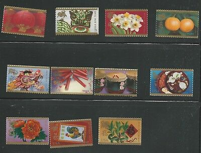 2008-2018 2nd Series Chinese Lunar New Year Stamps Rat, Tiger, Ox, Rabbit, Dog