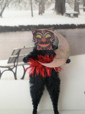 GRINNING BLACK CAT and MOON Vintage Style Chenille Halloween Ornaments
