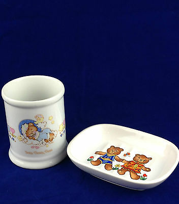 Vintage cup toothbrush cup soap dish Enesco Teddy Beddy Bear 1982