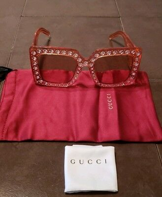 321fdc657d NEW GUCCI Oversize square-frame acetate Pink Crystal large GG sunglasses  GG0145S