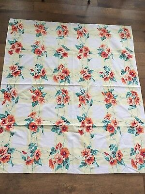 Vintage Tablecloth Morning Glory Pattern Yellow Check Fabric