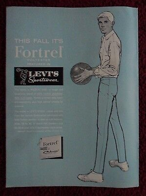 1963 Print Ad Levi's Fortrel Sportswear Fashion Clothing ~ Man Bowling Ball Art