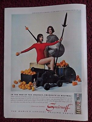 1962 Print Ad Smirnoff Vodka ~ War of the Oranges Women Medieval Warriors