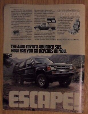 1985 Print Ad Toyota 4Runner SR5 Truck ~ ESCAPE How Far You Go Depends on You