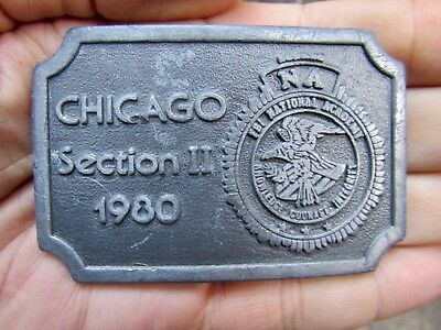 Vtg FBI AGENT Belt Buckle 1980 Bureau DOJ Academy NA Chicago HIT Pewter RARE VG+