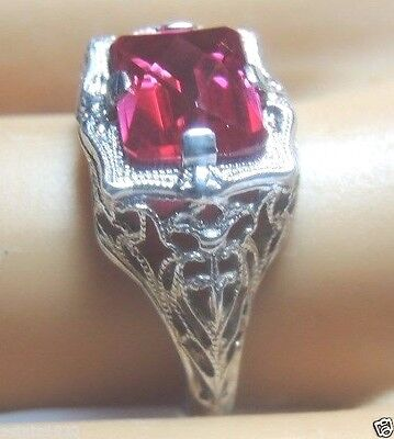 Art Deco Vintage Antique Synthetic Ruby Engagement 14K White Gold Ring Sz 6.75