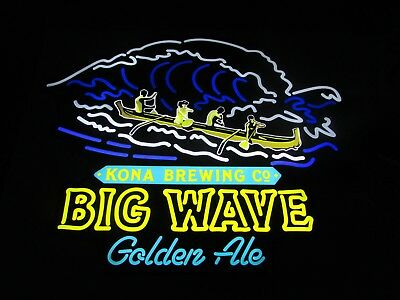 NEW Kona Brewing Co. Big Wave Golden Ale Led Beer Sign Light Man Cave Neo Neon