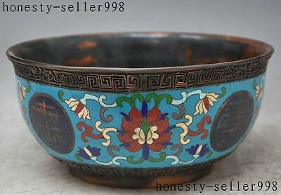 """7""""old chinese cloisonne pure red bronze Flower Auspicious lucky statue Bowl cup"""