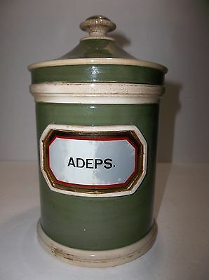 Antique English Porcelain APOTHECARY Jar ADEPS 8.5""