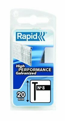 Rapid High Performance No.8 Galvanised Steel Brad Nails, Wire Length 20 mm, 401