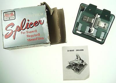NOS New Old Stock Photo Film Splicer 3 Way Vintage With Manual Nr 6645