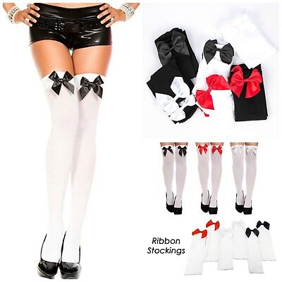 Ladies Over the Knee Stockings with Bows Thigh High Socks Oktobefest Costume