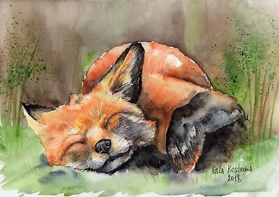 Sleeping Fox original Gala Kostroma watercolor animal painting pet vixen art
